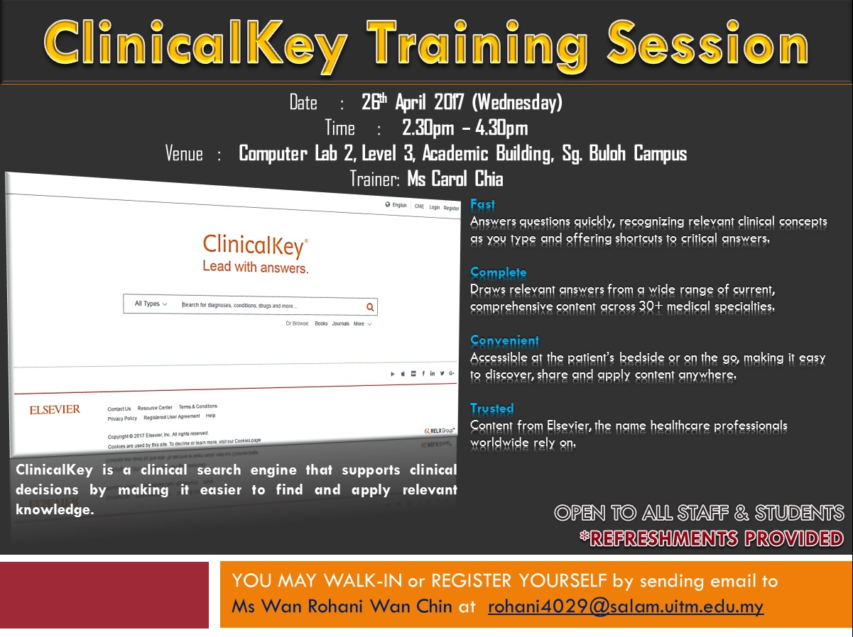 Library Alert! CLINICALKEY TRAINING SESSION